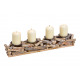 Candlesticks Advent arrangement of wood, metal nat