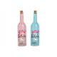 Bottiglia di vetro 5er LED Happy Birthday Rosa / R