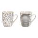 Mug stripes, dots decor porcellana bianca,
