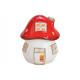 Lanterna Mushroom House in ceramica rossa, bianca.