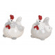 Pollo in ceramica bianco, grigio 2- volte assortit