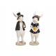 Bunny man and woman made of poly black 2-fold sort
