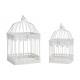 Set gabbia per uccelli in metallo Set bianco di 2,