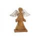 Anioł z drewna mango z metalowymi skrzydłami, brąz
