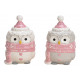 Ceramic owl white, pink 2- times assorted , (B / H
