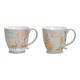 Mug mug cerf décor en porcelaine gris, or