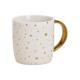 Tazza decorata a stella in terracotta bianca, oro