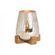 Lanterna su base in legno di mango in vetro di cha
