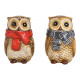 Ceramic Owl Brown 2- times assorted , (W / H / D)