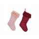 Santa Claus boot made of textile Bordeaux, pink do