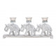 Porta tealight elefante 3 pezzi in legno, vetro bi