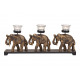Porta tealight elefante 3 pezzi in legno, vetro ne