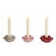 Portacandele in ceramica fiore colorato a 3 pieghe