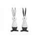 Ceramiczny królik biały, czarny 2- razy mieszany ,