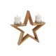 Candle holder star made of wood brown (W / H / D)