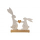 Espositore Coniglietto in metallo argento su legno