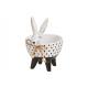 Ceramic bowl rabbit white, black (W / H / D) 11x8
