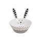 Ciotola in ceramica bianco coniglio, nero (L / H /