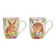 Mug bunny decor made of porcelain colored 2-fold s