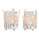 Lanterna decoro floreale in metallo, vetro bianco