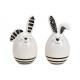 Coniglio in ceramica bianco 2- volte assortito , (
