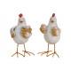 Pollo con uova di polietilene, piedini in metallo