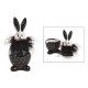 Barattolo coniglietto in ceramica nero, bianco (L