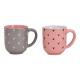 Tazza decoro cuore in ceramica rosa / rosa 2 volte