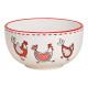 Ciotola pollo decoro in ceramica bianca (L / A / P
