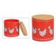 Vaso portaoggetti decoro pollo, coperchio bambù in