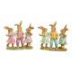 Gruppo di coniglietti in poli verde, rosa 2- volte