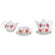 Set teiera decoro cuore in porcellana colorata set