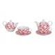Set teiera con decoro rose in porcellana rosa / ro