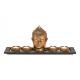 Buddha con 4 portacandeline, vassoio in legno, dec