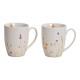 Mug flower decoration porcelain White 2-fold sorti