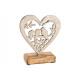 Espositore Uccello nel cuore di metallo su legno d