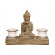 Buddha made of clay, with 2 lanterns glasses antiq