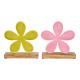Espositore Fiore in metallo su base in legno di ma