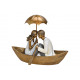 Coppia in poly gold boat (B / H / D) 22x17x13cm
