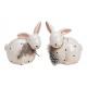 Coniglio con pois, decoro in piuma ceramica bianca