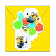 Minions BALLOONS PARTY - 6 invitation cards with o