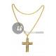 metallic gold cross necklace