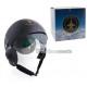 casco pilota nero con visiera