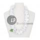 Naszyjnik z białego kwiatu 60mm i liść