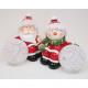 Kerstman en sneeuwpop met licht Ball LED 10x9x6cm,