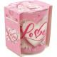 Geurkaars liefdesbrief motief glas 120g wax 7x8cm