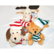 Elk, dog and teddy of plush with cap 8x9x9,5c