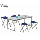 Garden set (Table + Chair) 5 Piece Gray 120 x 60 x