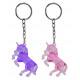 Unicorn, crystal, on key ring - ca 4,5x4