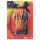 Crossbow with 4 arrows on Carte approx 31,5x21,5cm